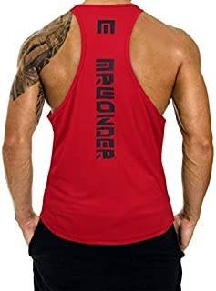 MrWonder Men's Casual Dry Fit Y-Back Muscle Tank Top Sleeveless Shirt (L Red) [並行輸入品]