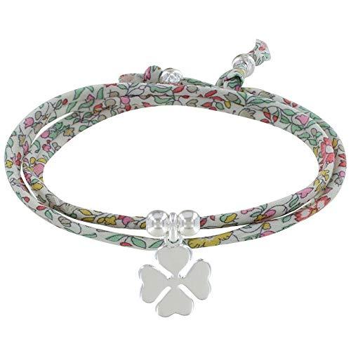 LES POULETTES BIJOUX - Bracelet Double Tour Lien Liberty et Trèfle Argent - Classics - Rose
