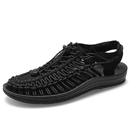 Mltdh Sport-Sandalen für den Sommer, Outdoor, lässig, atmungsaktiv, gewebt, Unisex, Schwarz, 41