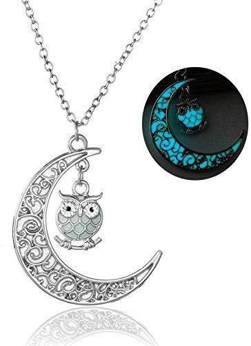 Treestar Hohl Moon Cute Eule Nachtlicht Einlage Mini Eule Legierung Halskette Elegant Noble Lady Edelstein Halskette 1