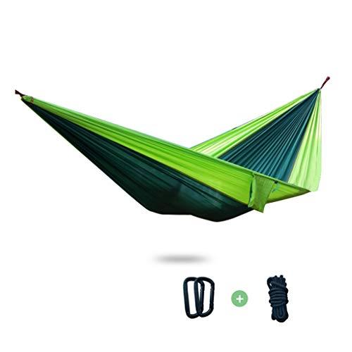 Hamacas Mobiliario de Camping Doble Adecuado for múltiples escenarios paracaídas Tela Resistente al Desgaste y Fuerte Carga de 250 kg (Color : Dark Green, Size : 270 * 140cm)