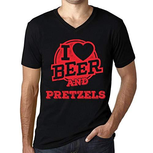 One in the City Hombre Camiseta Vintage Cuello V T-Shirt Gráfico I Love Pretzels Negro Profundo Texto Rojo