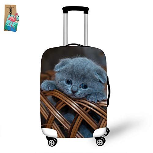 Fansu Travel Suitcase Covers, Lovely Cat Print Elastic Stretch Luggage Cover Suitcase Baggage Protective Creative Thicken Polyester Spandex Fabric Dustproof Reusable (Bamboo Basket,M(22-24in))