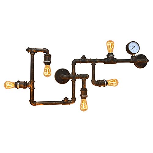 BarcelonaLED Aplique de pared/techo Lampara Vintage Industrial Retro de Color Bronce Envejecido Estilo Tubería Cobre con 5 casquillos E27 para Interior Salón Bar Cafetería Bombilla Edison