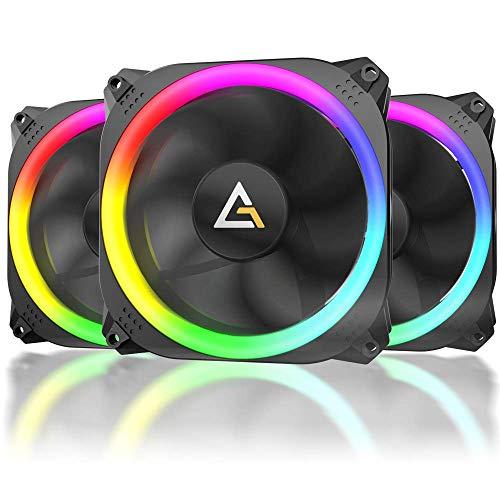 Antec Ventilador de Caja RGB de 120 mm, Ventilador de PC RGB de Alto Rendimiento, RGB de 4 Pines, Serie F12, 3 Paquetes
