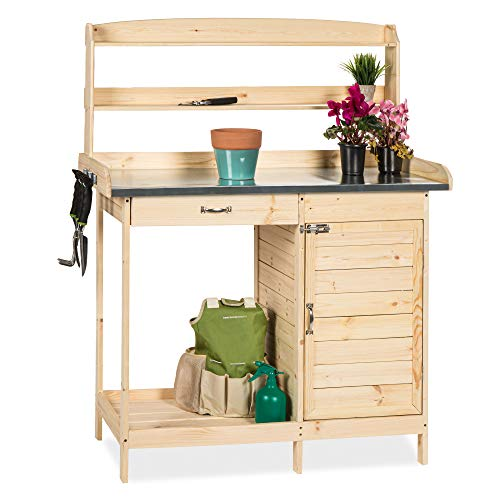 Best Choice Products Outdoor Garden Wooden Potting Bench Work Station w/Metal Tabletop and Cabinet - Natural
