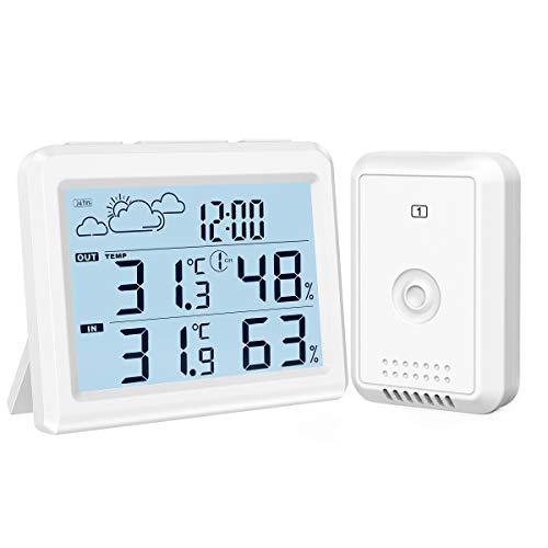 最新版 AMIR デジタル温度計湿度計 外気温度計 ワイヤレス 温度湿度計 室内室外 高精度 LCD大画面 外部??センサー付き 気象ステーション付き バックライト付き 最高最低温湿度 快適レベル 温度と湿度傾向図表示 置き掛け両用 天気予報 時刻表示 温