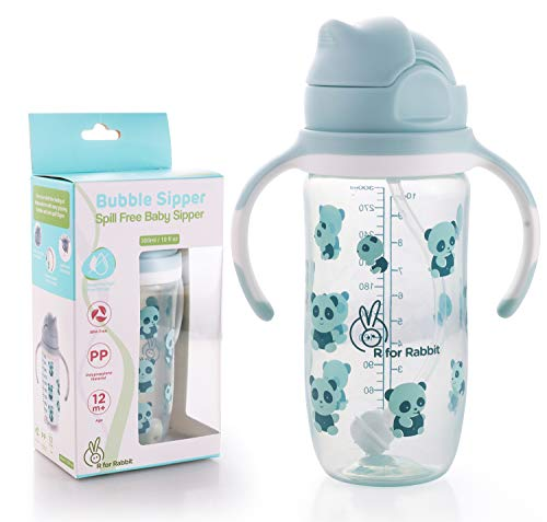 R for Rabbit Premium Bubble Sipper 300 ml|10 fl oz|Anti Spill Sippy Cup with Soft Silicone Straw BPA Free & Non Toxic for Baby or Kids of 12 Month Plus (Blue)