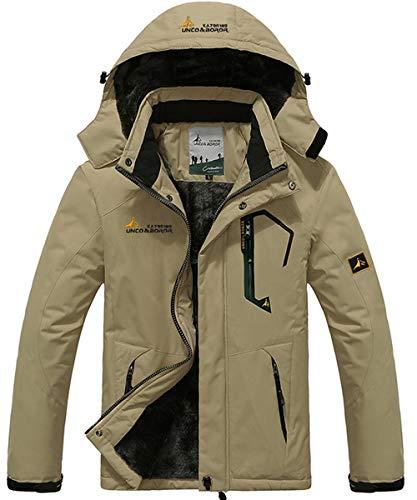 YIRUIYA Giacca Uomo Invernale Caldo Softshell Impermeabile Cappotto Antivento Outdoor Sci con Cappuccio Multi-Tasche Cachi XL