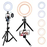VicTsing Ring Light with Tripod Stand, Selfie Light Kit for Phone,Dimmable Beauty Ringlight for Live Stream/Makeup/YouTube Video, Video Light for Potography TIK Tok Makeup Camera Shooting