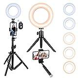 VicTsing Bague lumineuse avec trépied, kit d'éclairage pour selfie pour téléphone, intensité variable pour diffusion en direct/maquillage/vidéo YouTube, lumière vidéo pour potographie, TIK Tok, appareil photo de maquillage