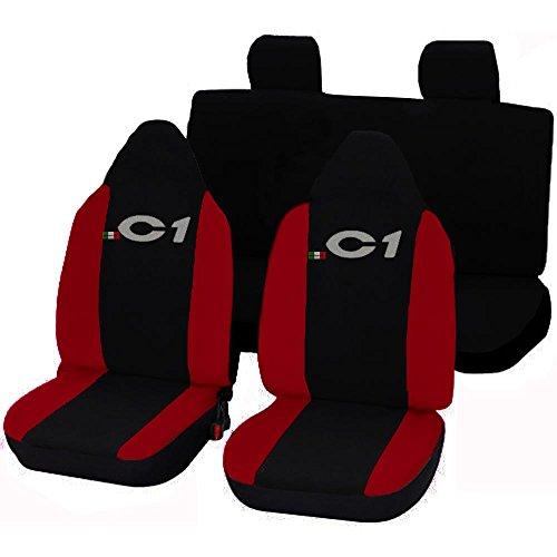 Lupex Shop 17239-01 Citroen C1 tweekleurige stoelhoezen - zwart rood
