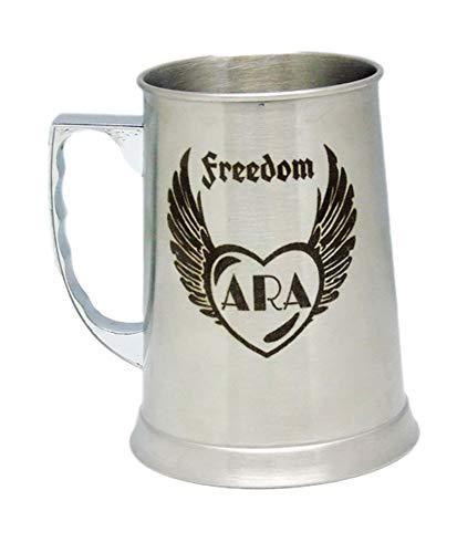 Jarra Cerveza de Acero Personalizada con Dibujo, Nombre, Logo, Escudo, como desee. (Asa a la IZQUIERDA)