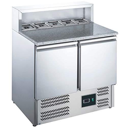 ZORRO - Pizzatisch ZPS900 - 2 Türen - Kühltisch mit Granitplatte - Salatkühlung - Gastro Belegstation