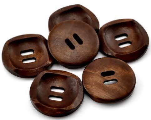 15 Holzknöpfe 30mm 2-Loch rund kaffeebraun braun Holzknopf Knopf annähen basteln