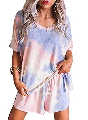 Sidefeel Women Tie Dye Printed Short Sleeve Pajama Set Sleepwear Lounge Large Multicolor