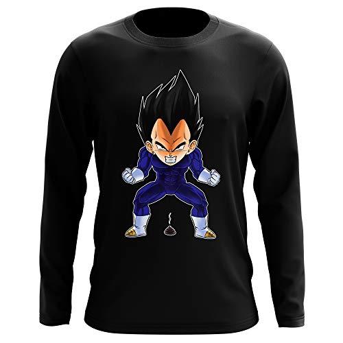 Okiwoki T-Shirt Manches Longues Noir Parodie Dragon Ball Z - DBZ - Végéta - Super Caca Vol.2 (T-Shirt de qualité Premium de Taille L - imprimé en France)