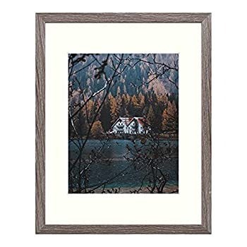 Frametory 11x14 Frame for 8x10 Photo Smooth Wood Grain Finish Frame with Ivory Mat for Photo - Includes Sawtooth Hangers and Real Glass - Landscape/Portrait Wall Display  Grey 1 Pack