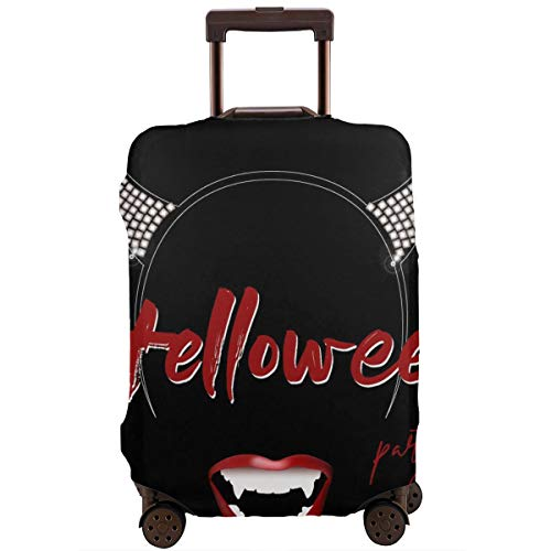 Protective Suitcase Cover Halloween Party Baner Flyer Vampire Teeth with Red Lips and Headband with Horns Travel Suitcase Protector L