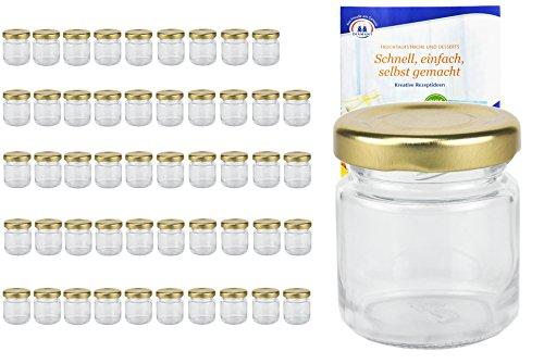 MamboCat Lot de 50 bocaux ronds TO 43 avec couvercle à vis couleur dorée, 53ml, avec livret de recettes (français non garanti), bocaux, conserves, mini pots en verres
