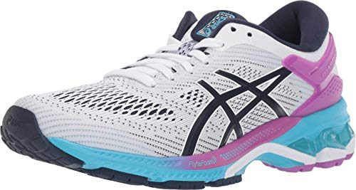 ASICS Women's Gel-Kayano 26 Running Shoes, 11.5M, White/Peacoat
