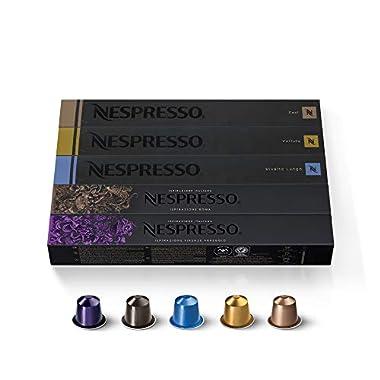 Nespresso Capsules OriginalLine, Variety Pack, from Mild to Medium to Dark Roast Espresso Coffee, 50 Count Coffee Pods, Brews 1.35 oz