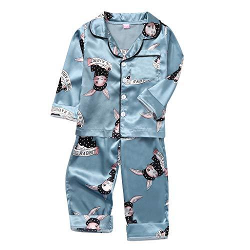 Baby Jongens Meisjes Pyjama Slaapmode Outfits Peuter Kids Lange Mouw Cartoon Konijn Printed Tops Shirts Broek Pyjama Set Zijde Satijn Nachtkleding Kinderen 2 Stks Slaapmode Sets voor 1-5 Jaar Oud