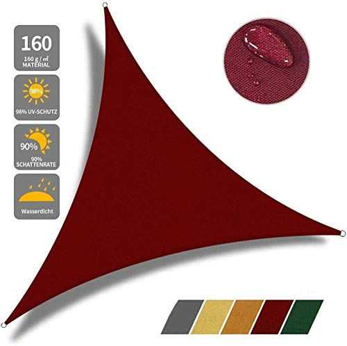 Jonist Sun Shade Sail Canopy 3 X 3 X 3 M Triangular Shadow Patio Garden UV Solar Protection Durable Durable Canopy For Camping Picnic Shop,Red-4x4x4m