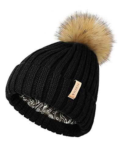 FURTALK Bommelmütze Damen mit satinfutter für Haar Wintermütze mit Kunstfell Bommel