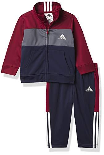 adidas Baby Boys' Li'l Sport Tricot Jacket & Jogger Clothing Set, Block Burgundy, 24 Months