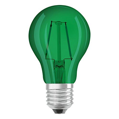 Osram LED Star Classic A Décor Green Lampe, in Kolbenform mit E27-Sockel, Dekoratives grünes Licht und Design, Ersetzt 1.6 Wat, 1er-Pack