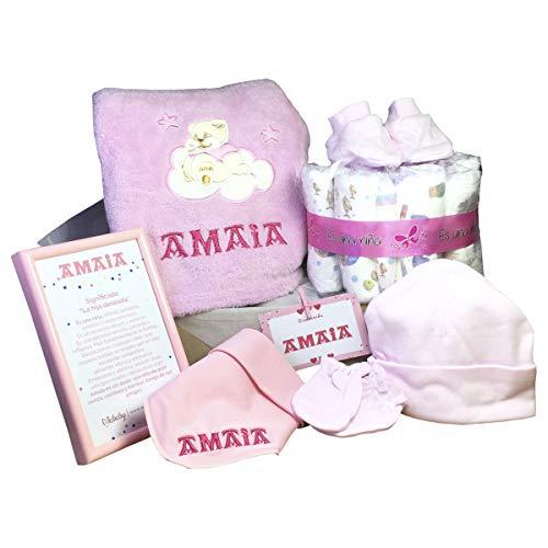 MabyBox Jaioberri | Set Regalo Recién nacido Personalizado | Canastilla bebé | Cesta Recién Nacido | Manta bebé Personalizada (Rosa)