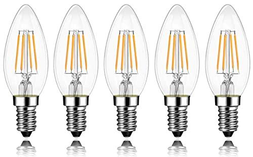 E14 LED Lampe, Kerze LED Birne 4W (ersetzt 40W), Warmweiß, Nicht Dimmbar, 5er-Pack