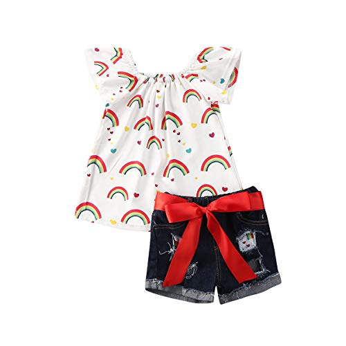 Toddler Kid Baby Girls Outfit Off Shoulder Floral Ruffle Tops and Ripped Denim Shorts Summer 2Pcs Clothes Set (3T / 4T, Rainbow)