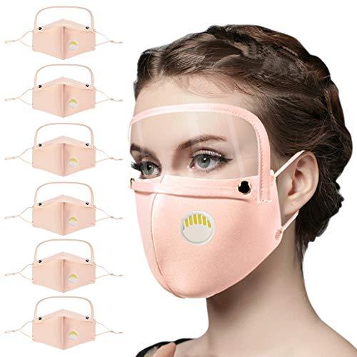 HYMax 6PCS Transparente Cara De Boca Con Ojo Desmontable Pañuelos Para Adultos Cara Con Ventana Transparente Expresión Visible Lectura Labial Al Aire Libre