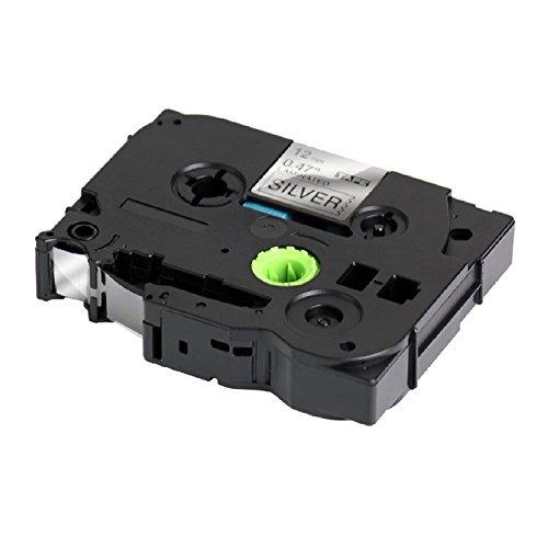 5 x Nastro laminato Compatibile per Brother P-Touch TZ 12mm x 8m TZe-931 TZ-931 Nero su Argento