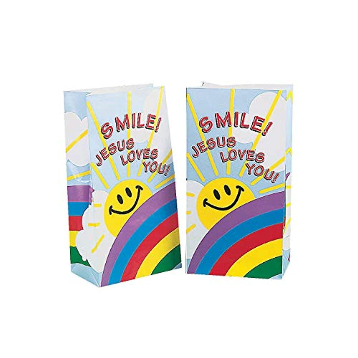 Fun Express - Smile! Jesus Loves You Paper Bags for Party - Party Supplies - Bags - Paper Treat Bags - Party - 12 Pieces