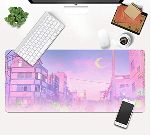 Gaming Mouse Pads Pink Sailor Moon Gaming Mouse Pad Landscape Aesthetics Art Anime Mouse Mat Non-Slip Rubber Base Laptop Keyboard Mat-800X300X3Mm