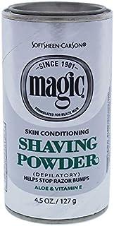 Softsheen-Carson Magic Razorless Shaving for Men, Magic Skin Conditioning Shaving Powder, with Vitamin E and Aloe, formulated for Black Men, Depilatory, Helps Stop Razor Bumps, 4.5 oz