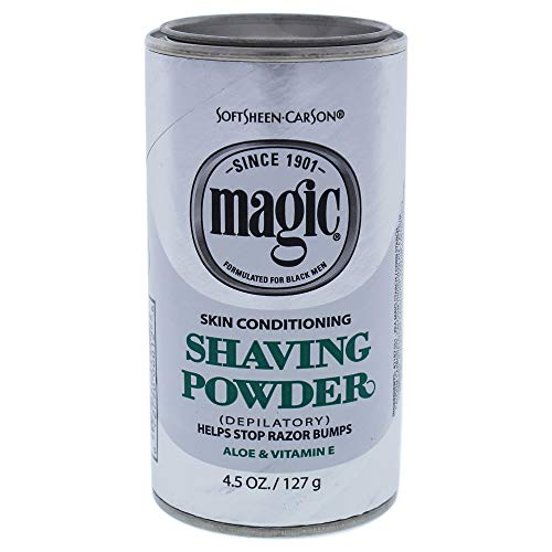 Razorless Shaving for Men by SoftSheen-Carson Magic Skin Conditioning Shaving Powder, with Vitamin E and Aloe, Formulated for Black Men, Depilatory, Helps Stop Razor Bumps, 4.5 Ounce, multi (42187)