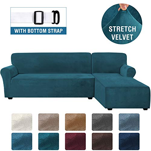 Rich Velvet Stretch 2 Pieces L-Shaped Sofa Covers Anti-Slip Sectional Sofa Slipcovers with Straps Bottom Luxury Thick Velvet Corner Sofa Cover(X-Large Size=Right Chaise with 3 Seater, Deep Teal)