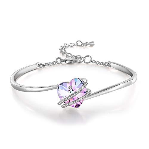 GEORGE · SMITH ❤️Histoire d'amour Bracelet Coeur Bracelet Plaqué Argent Femme avec Cristal Bleu Rose, Cadeau Anniversaire Fête des mères Femme Maman- avec Boîte Cadeau