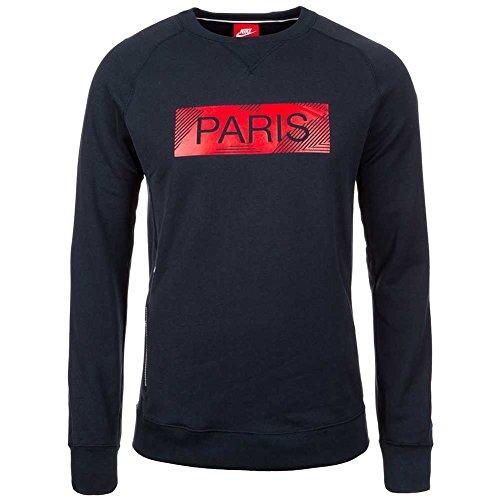 Nike MEN'S PARIS SAINT-GERMAIN AUTHENTIC CREW SWEATSHIRT DARK OBSIDIAN/HYPER COBALT 17/18 Paris Saint Germain L DARK OBSIDIAN/HYPER COBALT