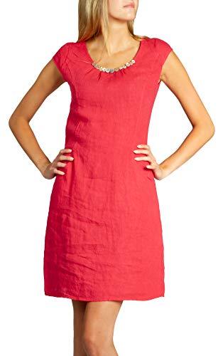 Caspar SKL018 Donna Vestito Estivo di Lino con Bottoni Decorativi, Colore:Rosso, Dimensioni:M - DE38 UK10 IT42 US8