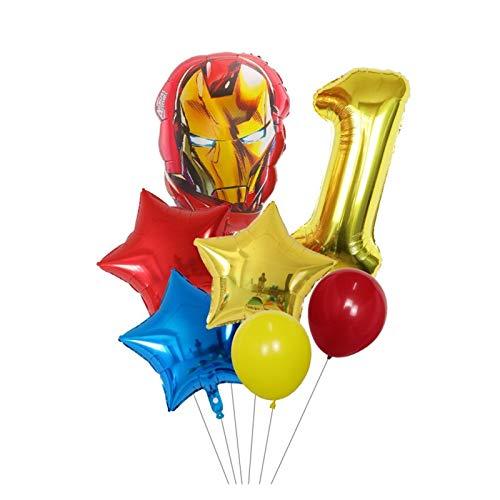 Globos 7 unids Spider Hierro Capitán América Hulk Ballons Superhéroes Set 30 Pulgadas Número Globos Decoraciones de Fiesta de cumpleaños (Color : Gold Number 1 Set)