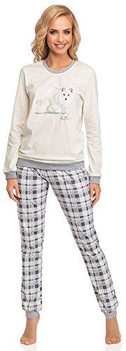 Cornette Damen Schlafanzug 683 2015 (Ecru/Grau(Fox), 42 (Herstellergröße: XL))