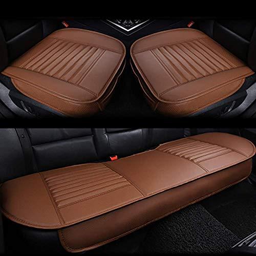 Cojines para asiento de automóvil, transpirable, cómodo, color carbón, juego completo, almohadilla para asiento de automóvil, asiento interior del automóvil, cuero sintético, bambú, cubierta de carbón