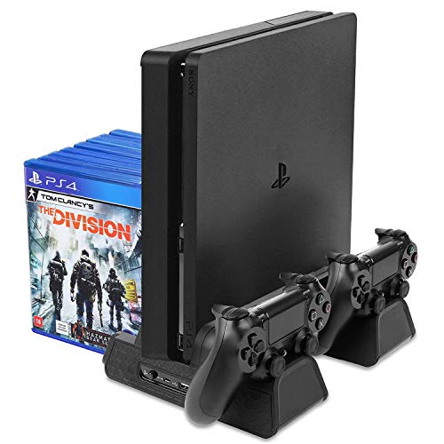 TNP Vertical Stand with Cooling Fan and Controller Charger For PS4 w/ DualShock 4 Charging Docking Station Hub, 12 Game Disc Storage Organizer, 3 Built-in Cooler Fan For PlayStation 4 / PS4 Slim / Pro