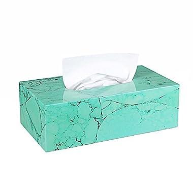 Tissue Cover Holder,Creative Marble Texture Rectangular Wood Tissue Box Cover Dispenser Napkin Organizer For Bathroom Bedroom Office and Car …