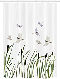 Ambesonne Dragonfly Stall Shower Curtain, Flying Small Dragonflies Over Tall Reeds Botanical Environmental Graphic, Fabric...
